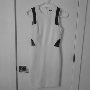 White Body Con Dress with Black Mesh Accents